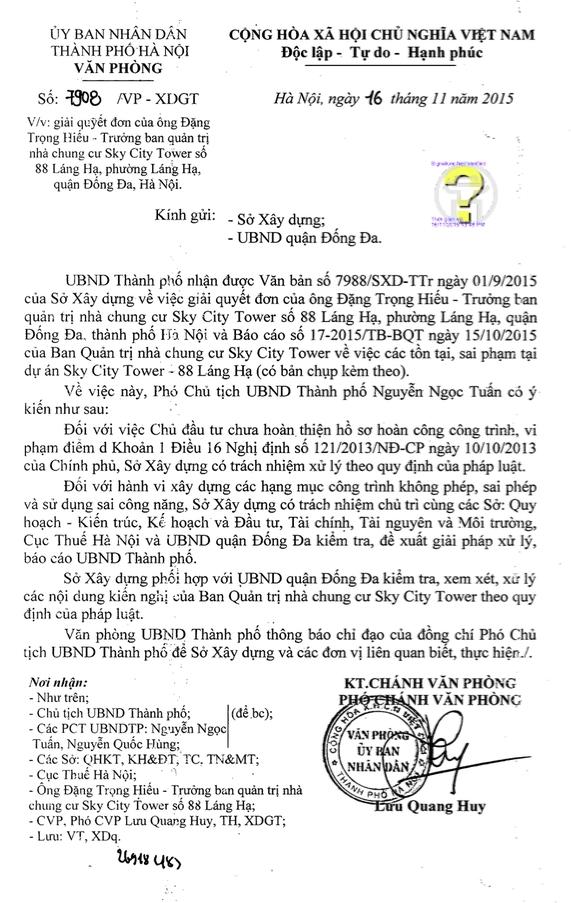 Văn bản chuyển tải ý kiến của Phó Chủ tịch UBND thành phố Hà Nội Nguyễn Ngọc Tuấn về vệckiến nghị của bà con cư dân khu chung cư Sky City Tower - 88 Láng Hạ.