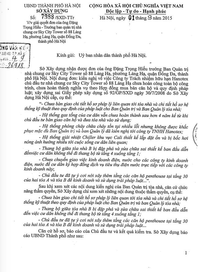 Văn bản của Sở Xây dưng Hà Nội gửi UBND thành phố Hà Nội về các nội dung sai phạm của chủ đầu tưCông ty TNHH Hanotex tạitoà nhà Sky City Tower - 88 Láng Hạ.