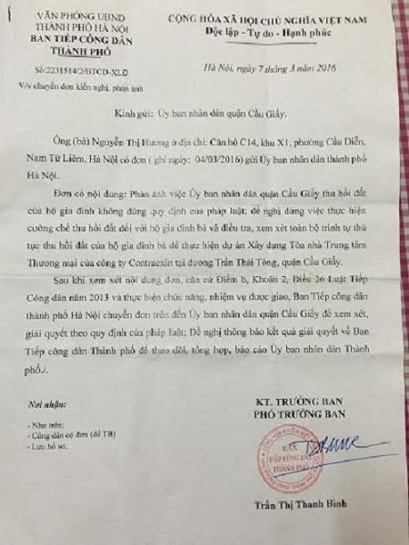 Văn bản thể hiện mảnh đất nhà ông Nguyễn Chí Phương đang trong quá trình giải quyết khiếu nai.