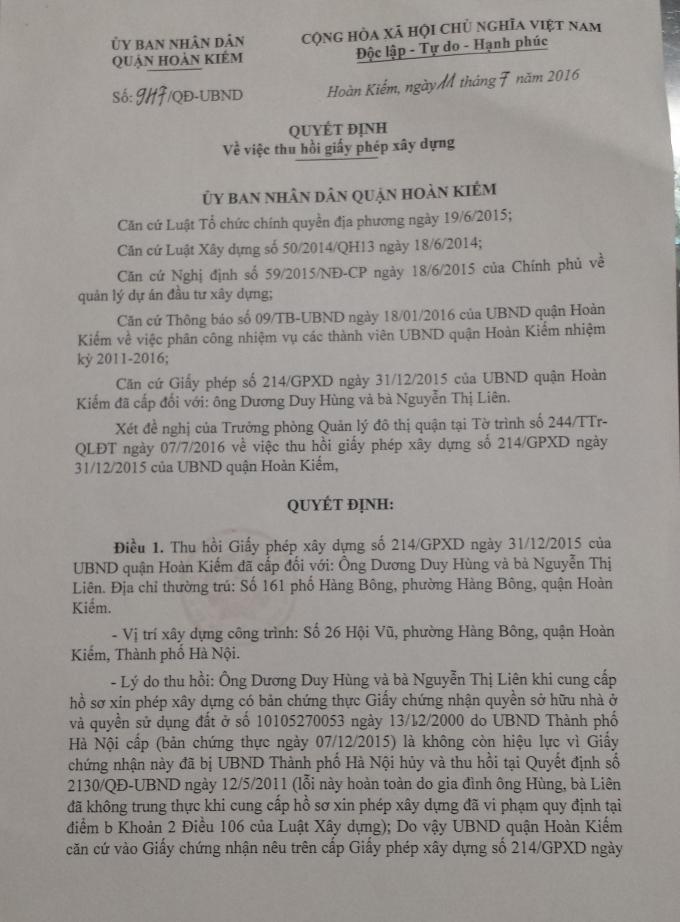 """Phó Chủ tịch quận Hoàn Kiếm """"xin lỗi hộ"""" Chủ tịch phường Hàng Bông có phát ngôn """"chợ búa"""""""