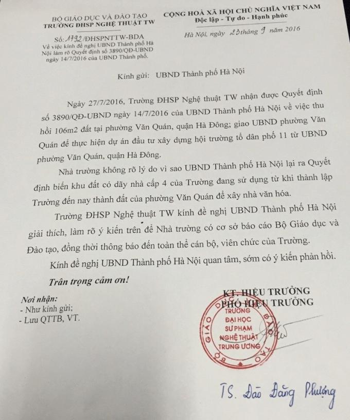 Văn bản số 1792/ĐHSPNTTW-BDA gửi UBND TP Hà Nội về việc đề nghị UBND TP Hà Nội làm rõ Quyết định 3890/QĐ-UBND ngày 14/7/2016 của UBND TP Hà Nội.