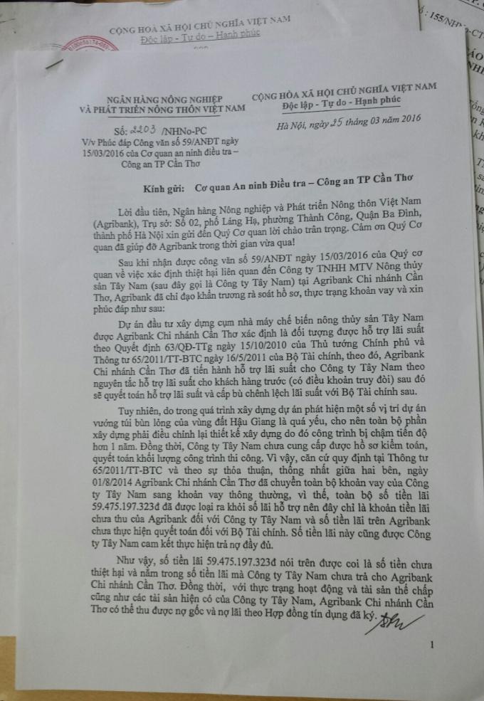 Công văn số 2203/NHNo-PC do ông Phạm Toàn Vượng, Phó Tổng Giám đốcNgân hàng Nông nghiệp và Phát triển Nông thôn Việt Nam gửiCơ quan An ninh điều tra Công an TP Cần Thơ.