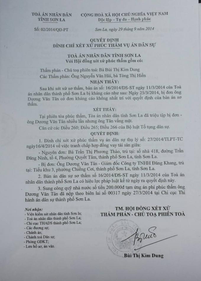 Quyết định đình chỉ xét xử phúc thẩm vụ án dân sự của TAND tỉnh Sơn La, số 02/2014/QĐ-PT ngày 29/9/2014.