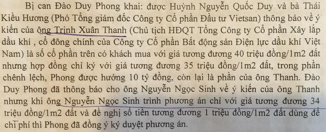 """Các lời khai về sự chỉ đạo """"ăn chia"""" của Trịnh Xuân Thanh (ảnh chụp từ tư liệu vụ án)."""