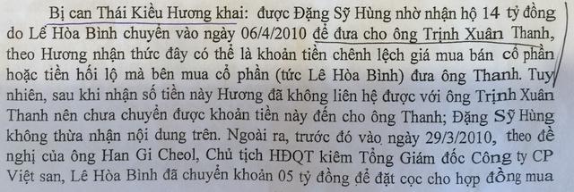 """Lời khai về việc chia """"lộc"""" cho Trịnh Xuân Thanh (ảnh chụp từ tư liệu vụ án)."""
