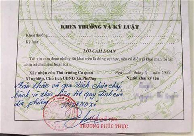 Lời phê của ông Trương Phúc Thực, Phó Chủ tịch UBND xã An Bình, huyện Nam Sách, tỉnh Hải Dương trong xác nhận lý lịch của công dân.