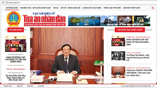 Tạp chí Tòa án nhân dân điện tử với tên miền tapchitoaan.vn được thiết kế với giao diện thân thiện