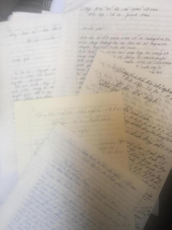 Người dân viết nhiều đơn gửi đến các cơ quan chức năng tỉnh Hà Nam nhưng chưa được giải quyết.