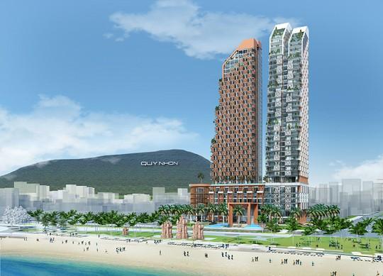 Phối cảnh dự Khu phức hợp Khách sạn, Thương mại và Căn hộ cao cấp Thiên Hưng có mức đầu tư hơn 2.900 tỉ đồng.