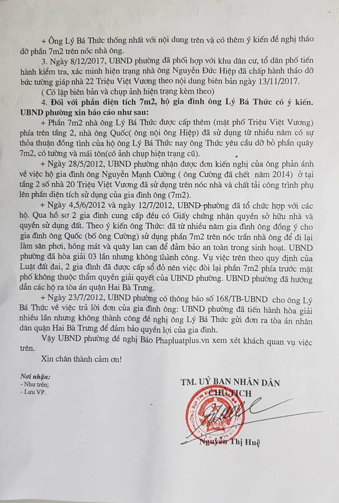 Văn bản thông tin của UBND phường Bùi Thị Xuân do Chủ tịch Nguyễn Thị Huệ ký.