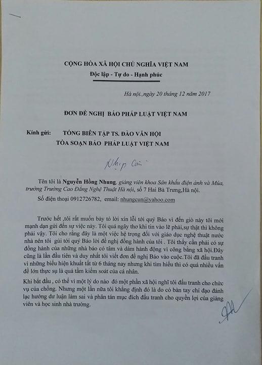 Đơn của chị Nguyễn Hồng Nhung gửi Toà soạn Phapluatplus.vn