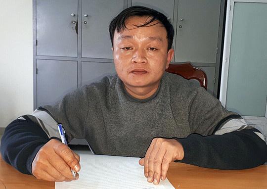 Đối tượng Nguyễn Đình Thương tại cơ quan công an.
