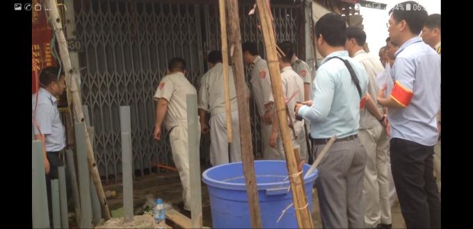 Các lực lượng cưỡng chế nhà ởđịa chỉ 650 đường Bưởi, phường Vĩnh Phúc, Ba Đình, TP Hà Nội.