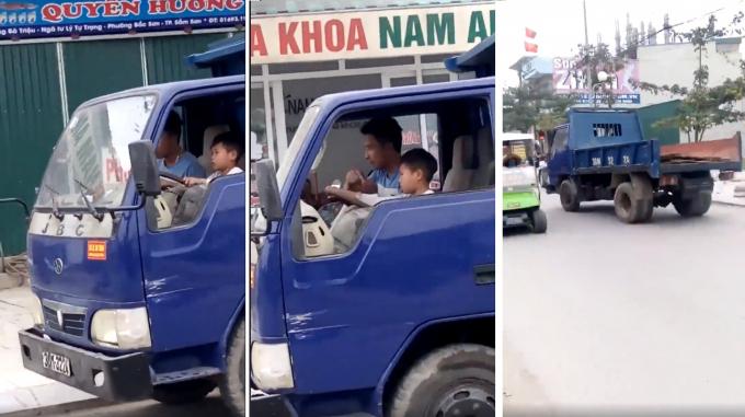 Cảnh bé trai 10 tuổi điều khiển xe ô tô tải trên đường gây bức xúc cộng đồng mạng.