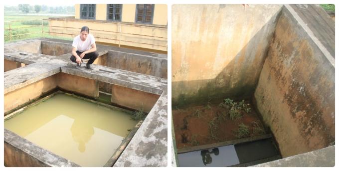 4 bể lọc trên cao 2 bể có nước, 2 bể cạn khô chứa đầy bùn, đất.