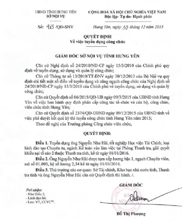 """Chủ tịch tỉnh Hưng Yên """"ưu tiên"""" cho thí sinh Nguyễn Như Hải người không đủ tiêu chuẩn thi công chức và đã trúng tuyển."""