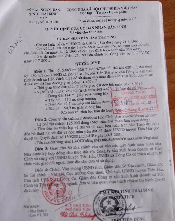 Theo luật sưUBND tỉnh Thái Bình ra quyết định thu hồi đất của 152 hộ dân ở xã Đông Cơ để giao cho các doanh nghiệp tthì UBND huyện Tiền Hải phải ban hành quyết định thu hồi đất đến từng hộ gia đình.