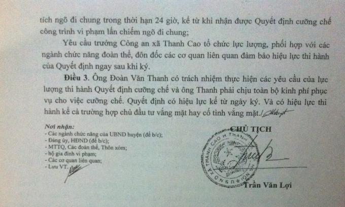 Ông Trần Văn Lợi tự ý ra quyết định cưỡng chế gia đình ông Thanh.