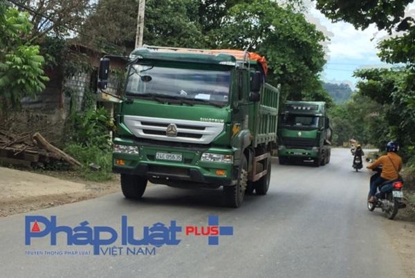 Các xe quá tải từng đoàn nối đuôi nhau di chuyển trên tuyến đường này mà không bị xử phạt.