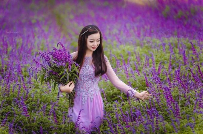 Thiếu nữ xinh xắn bên loài hoa tuyệt đẹp này. Ảnh: Duy Tuấn.