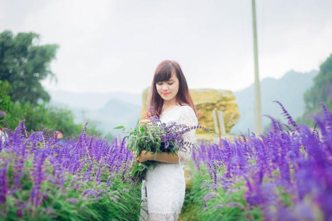 Thiếu nữđẹp rạng rỡ bên cánh đồng hoa.