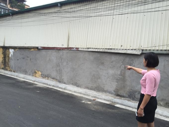 Bức tường nơi bà Hạnh lùi xe làm đổ đã được xử lý...