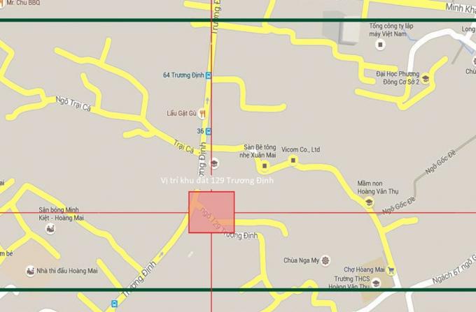 Vị trí khu đất 129 Trương Định, nơi Công ty CP Đồng Tháp Đang nợ tiền sử dụng đất.
