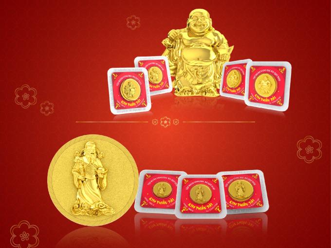 Đồng vàng 999.9 in hình Ông Thần Tài – vị thần quản tiền bạc theo tín ngưỡng Đông Phương, được đông đảo người dân săn lùng. Ảnh: Doji