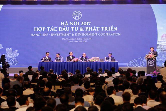 Quang cảnh Hội nghị Hợp tác đầu tư Hà Nội năm 2017.