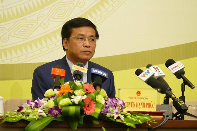 Tổng thư ký Quốc hội Nguyễn Hạnh Phúc chủ trì họp báo trước kỳ họp thứ 6 của Quốc hội