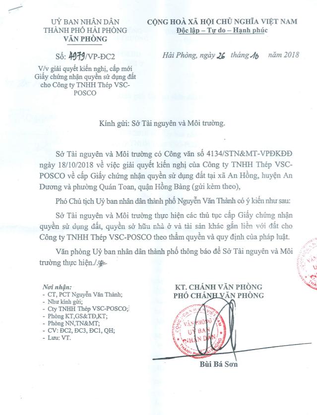 Văn bản gửi Sở Tài nguyên và Môi trường TP về việc giải quyết kiến nghị, cấp mới giấy chứng nhận quyền sử dụng đất cho Công ty TNHH Thép VSC – POSCO (VPS).