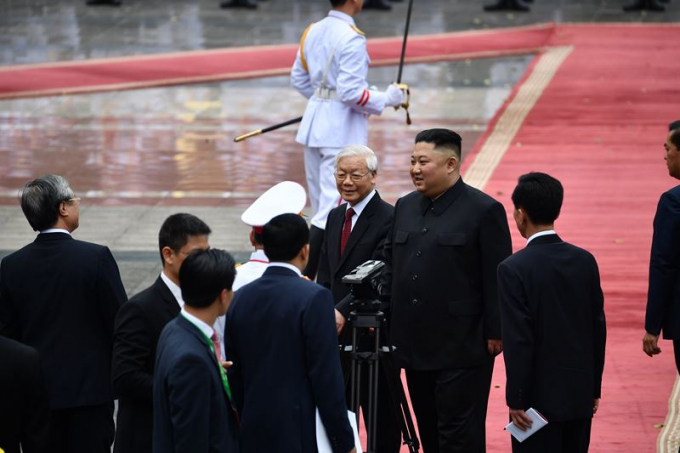 Tổng Bí thư, Chủ tịch nước Nguyễn Phú Trọng đang hội đàm với Chủ tịch Triều Tiên