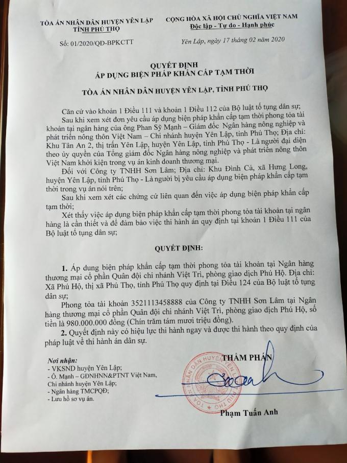 Quyết định 01/2020/QĐ-BPKCTT ngày 17/02/2020 của Tòa án nhân dân huyện Yên Lập, tỉnh Phú Thọ