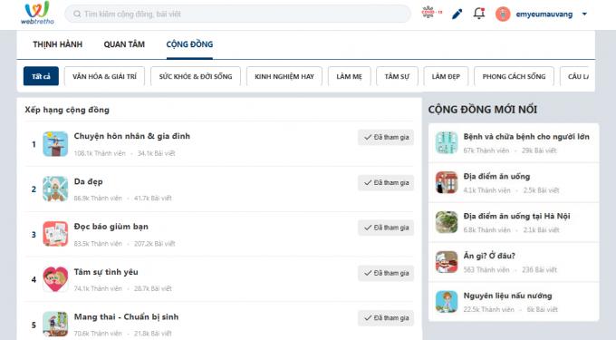 Giao diện mới của Webtretho thu hút được nhiều đối tượng với các chủ đề phong phú cùng tính tiện ích