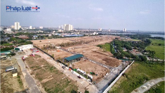 Hiện trạng khu đất thực hiện dự án Louis City Hoàng Mai nhìn từ trên cao (Ảnh ghi nhận vào ngày 18/5/2020).