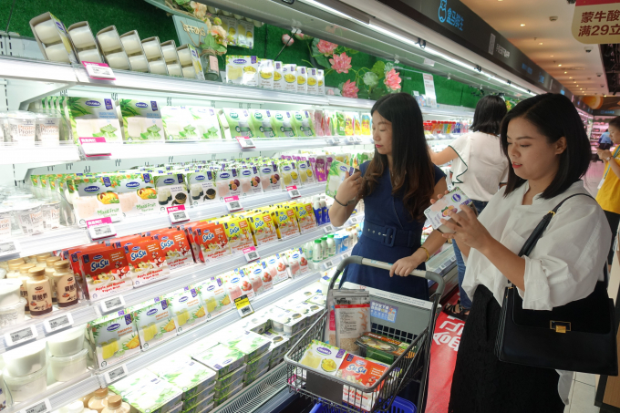 Các sản phẩm sữa mang thương hiệu Vinamilk xuất hiện trong nhiều chuỗi siêu thị hiện đại của Trung Quốc như Thiên Hồng, Hợp Mã (Hema thuộc Alibaba)