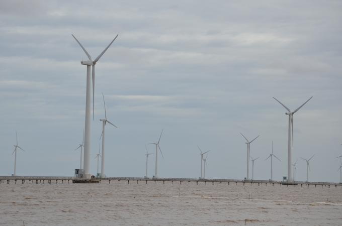 Nhà máy điện gió Bạc Liêu ở tỉnh Bạc Liêu. Ảnh: Ngô Đức Hành