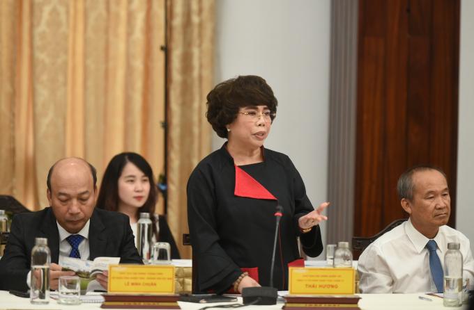 Bà Thái Hương, Chủ tịch TH True Milk mong muốn Chính phủ tạo ra một thể chế minh bạch, sáng suốt, làm bệ đỡ cho các DN phát triển. Ảnh: VGP/Quang Hiếu