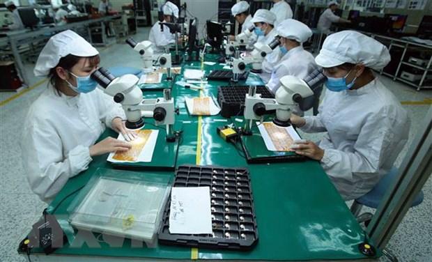 Sản xuất linh kiện điện tử tại công ty TNHH 4P (Hưng Yên), dự án có vốn đầu tư lớn, công nghệ tiên tiến, khả năng tham gia sâu chuỗi liên kết khu vực và toàn cầu. (Ảnh: TTXVN)