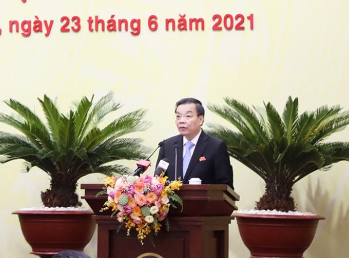 Chủ tịch UBND TP Chu Ngọc Anh phát biểu tại kỳ họp