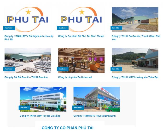 Một số công ty con của Công ty CP Phú Tài.