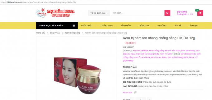 Quảng cáo trên trang web có tên miền: Likidavietnam.com của công ty Likida sai quy định? (Ảnh chụp màn hình)