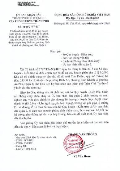 Phó chủ tịch UBND TP Trần Vĩnh Tuyến giao các Sở, ngành và UBND quận 2 khẩn trương rà soát báo cáo UBND TP.