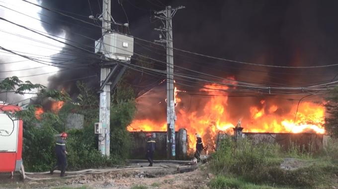 Vụ cháy đã ảnh hưởng đến đường điện tại khu vực, cột điện và dây điện cũng bị cháy.