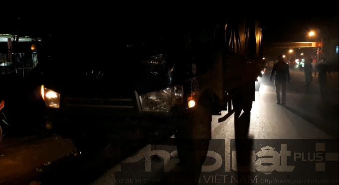 Xe tải tại hiện trường vụ tai nạn
