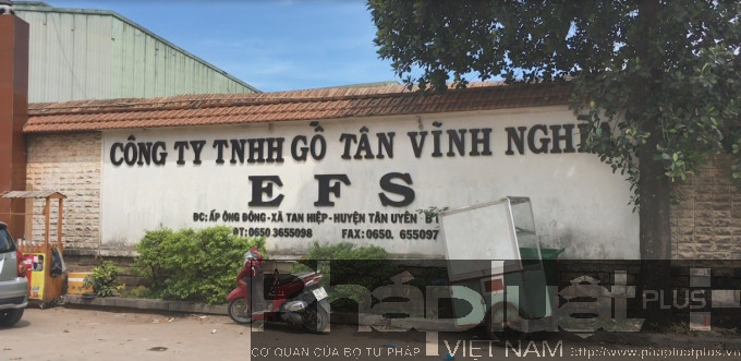 Công ty TNHH Gỗ Tân Vĩnh Nghĩa nơi xảy ra vụ cháy