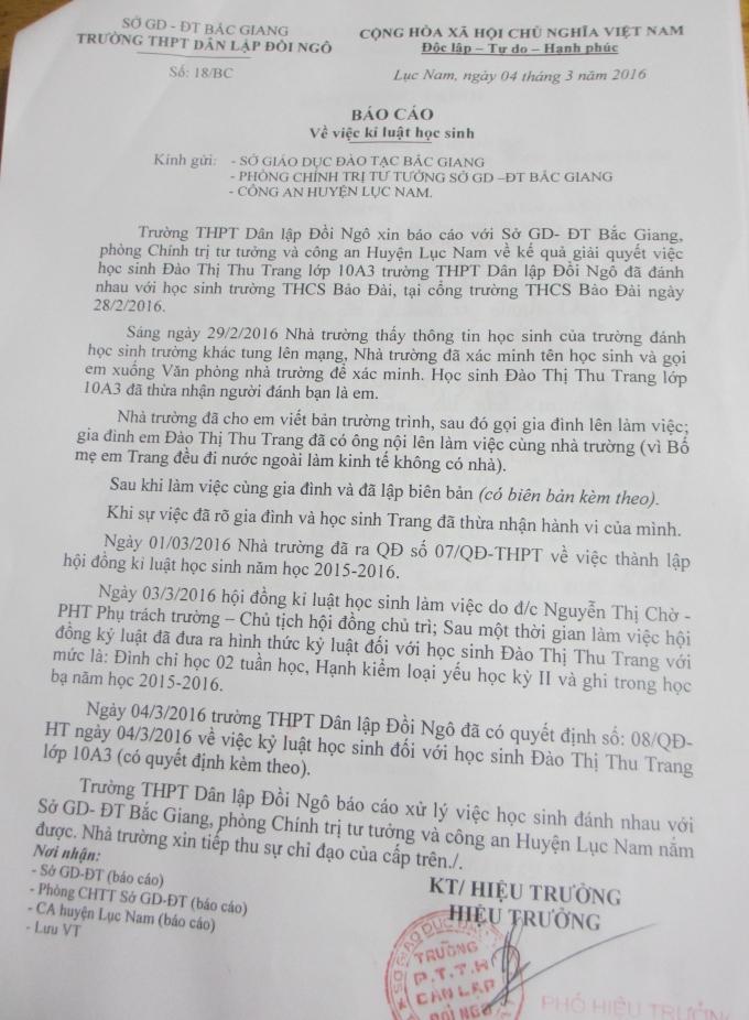 Báo cáo của Trường THPT Dân Lập Đồi Ngô gửi Sở Giáo dục và Đào tạo tỉnh Bắc Giang.