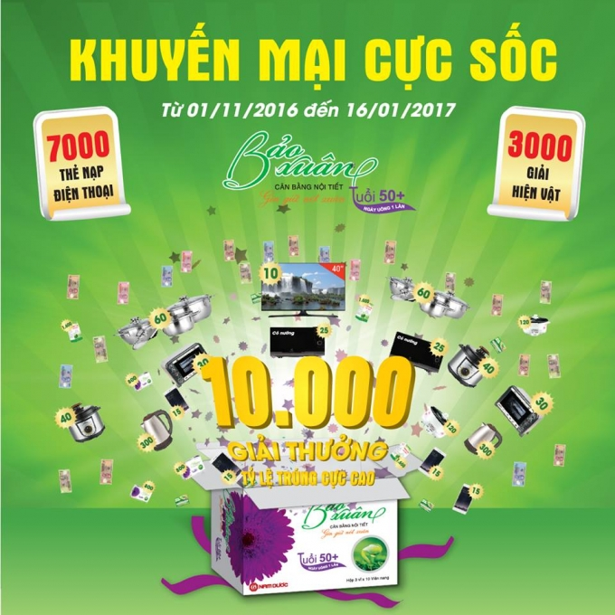 10.000 giải thưởng đang chờ đón quý khách hàng Bảo Xuân 50+.