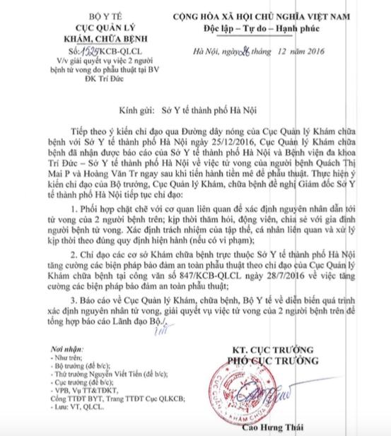 Công văn số 1525/KCB-QLCL của Cuch Quản lý Khám chữa bệnh - Bộ Y tế.