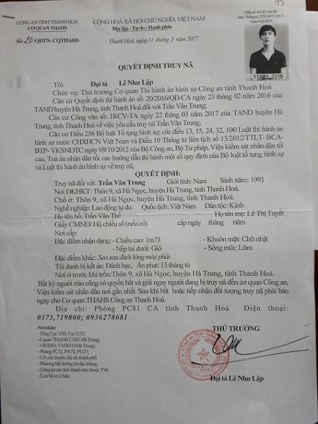 Đối tượng Trung đã từng bị cơ quan công an truy nã về tội đánh bạc